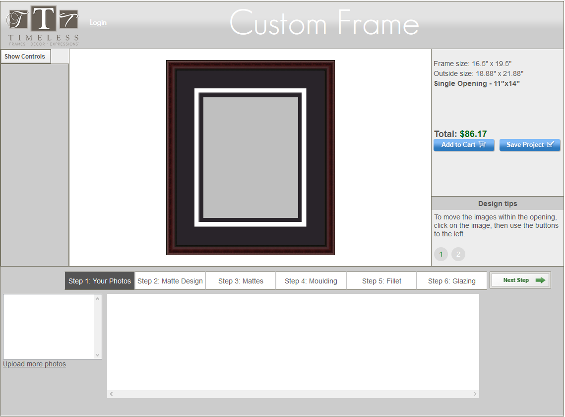 Timeless Frames - Custom Framing Application